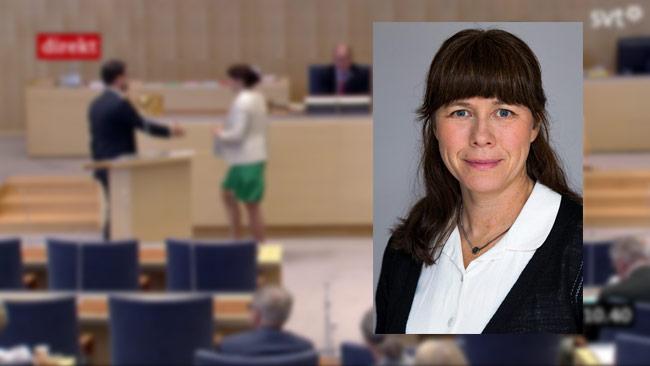 Åsa Romsons pressekreterare vägrar kommentera när Nyheter Idag ringer. Foto: Kristian Pohl/ Regeringskansliet samt svtplay.se i bakgrunden