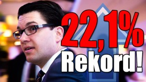 Nytt rekord för SD i Sentio om hela 22,1 procent. Foto: Nyheter Idag