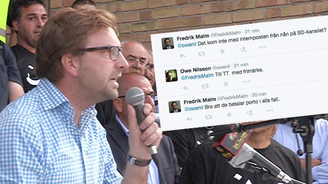 Fredrik Malm är raljant och skyller dödshot på SD. Foto: Nyheter Idag / Twitter