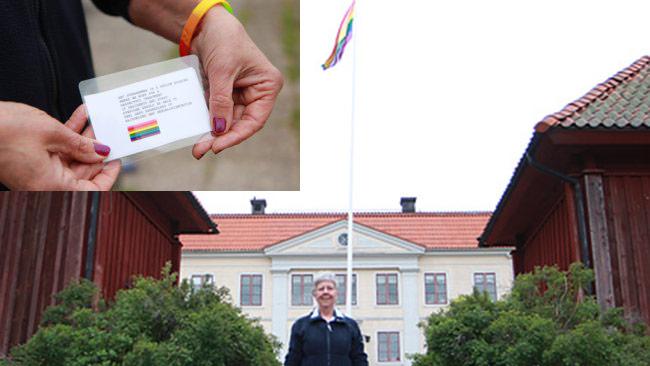 Regnbågsflaggan vajjar utanför asylboendet. Foto: migrationsverket.se