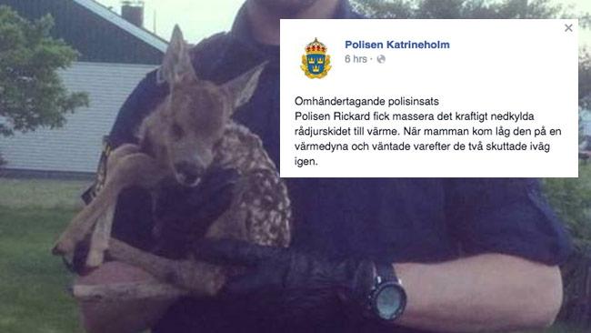 Statusuppdateringen från polisen ifrågasätts på Facebook. Foto: Polisen Katrineholm