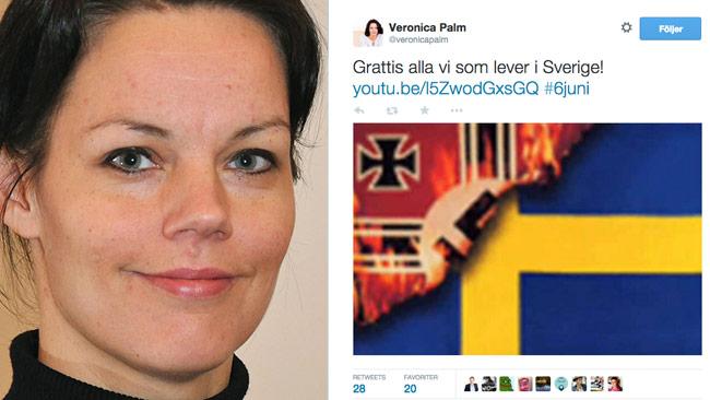 Veronica Palm och hennes omdiskuterade Tweet. Foto: Wikimedia commons / Faksimil Twitter
