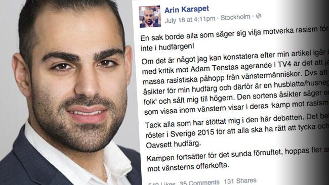 Moderaten Arin Karapet är förtroendevald i landstingsfullmäktige i Stockholm. Foto: sll.se / Facebook