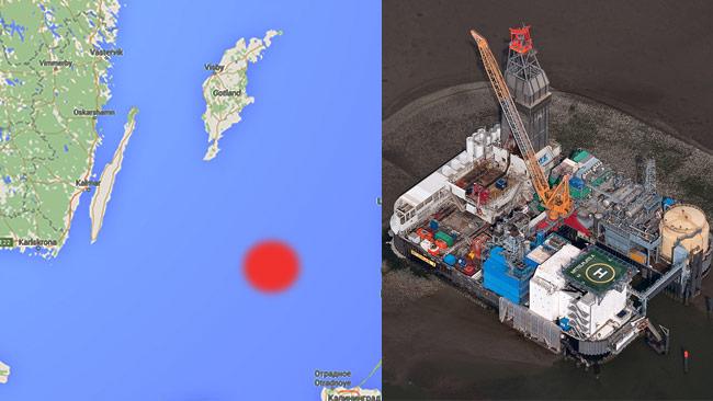 Ungefär vid den röda markeringen ligger Dalders där Sverige skulle kunna ha en egen oljeplattform (i bild den tyska plattformen Mittelplate). Foto: Google Maps samt Ralf Roletschek / fahrradmonteur.de