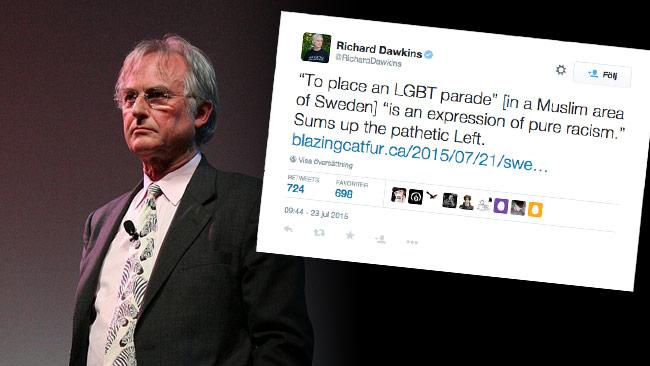 Richard Dawkins backar Pride Järva på Twitter. Foto: Shane Pope / Wikimedia Commons samt Faksimil Twitter