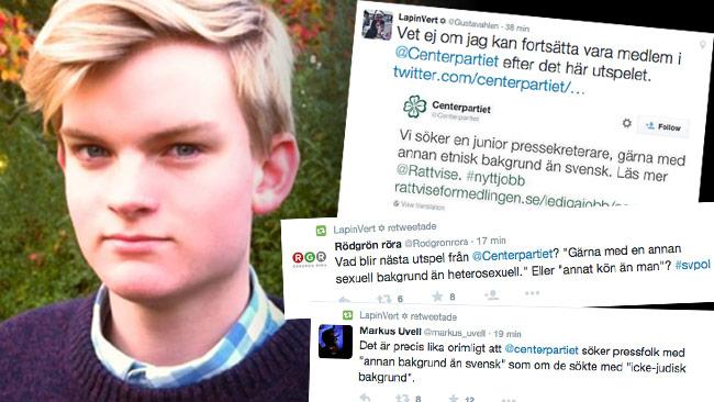 Gustav Åhlen i Centerpartiet är en av kritikerna. Foto: Privat / Twitter
