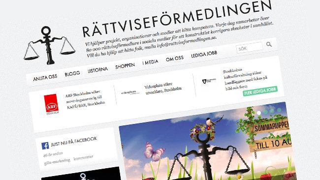 Rättviseförmedlingens hemsida. Foto: Faksimil rattviseformedlingen.se