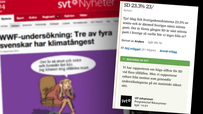 Olika syn på att använda webpanel när det kommer till klimatfrågor jämfört med opinionsmätningar. Bilden är ett montage. Foto: Faksimil svt.se