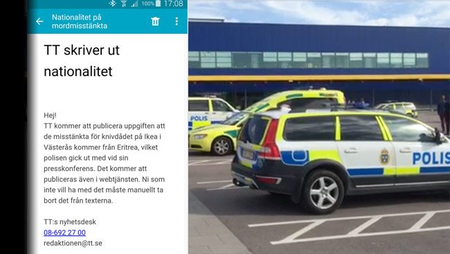 Nyhetsbyrån TT gick ut med en varning till tidningsredaktionerna om att de kommer berätta om varifrån gärningsmännen på IKEA kom ifrån. Foto: Faksimil Twitter / Läsarbild