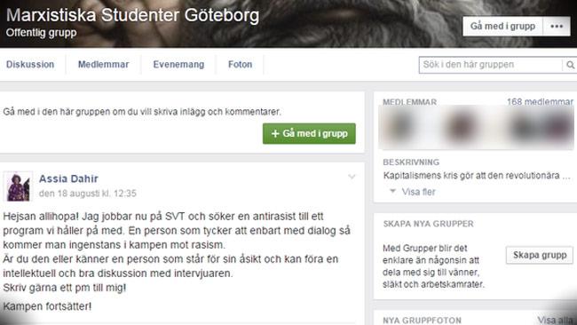 """Här efterlyser SVT-medarbetaren någon att intervjua med uppmaningen """"Kampen fortsätter"""". Foto: Faksimil Facebook"""