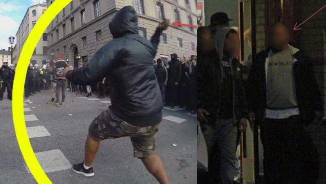 Till vänster kastar fritidsledaren knallskott mot polisen. Till höger fångades han på bild kvällen innan tillsammans med AFA och RF. Bilder ur polisens förundersökning.