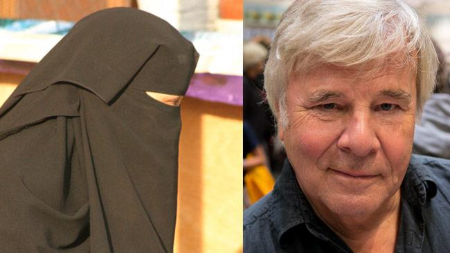 Hen till vänster bär en niqab. Hen till höger heter Jan Guillou. Foto: Walter Collens samt Albin Olsson / Wikimedia Commons