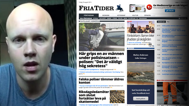 Lamotte går bland annat till attack mot sajten Fria Tider.  Foto: Faksimil Facebook samt Fria Tider