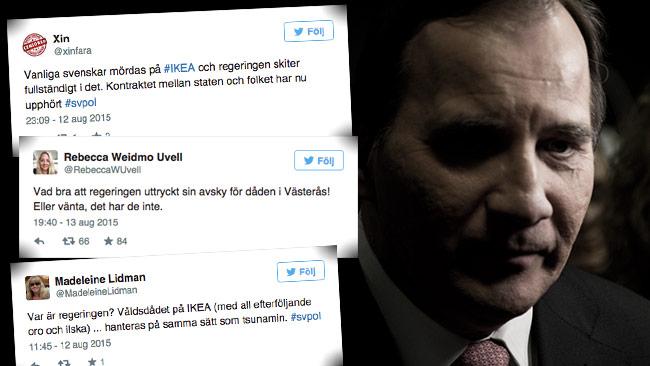 Statsmininster Stefan Löfven möter svidande kritik för sin tystnad. Foto: Faksimil Twitter / Nyheter Idag