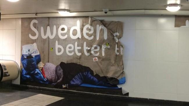 Även har har någon vandaliserat. Foto: Pavel Gamov