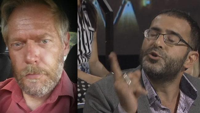 Joakim Ramstedt (t.v) totalsågar nu Behrang Kianzad (t.h) efter SVT Debatt. Foto: Privat samt faksimil svtplay.se