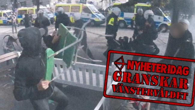Även en stol kastade den misstänkte gärningsmannen mot polisen. Nyheter Idag-stämpeln är ett montage. Foto: Polisen