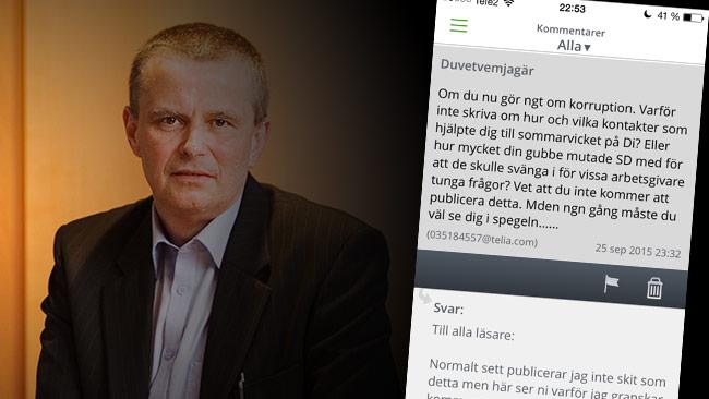 """Hans Olov Nilsson postade en kommentar i Uvells blogg med avsändare """"Duvetvemjagär"""". Bilden är ett montage. Foto: Pressbild livs.se samt skärmdump Rebecca Uvell"""