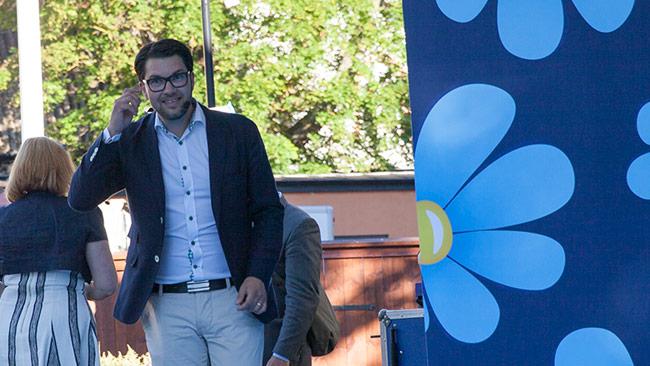 Jimmie Åkesson har all anledning att vara glad. Foto: Chang Frick / Nyheter Idag