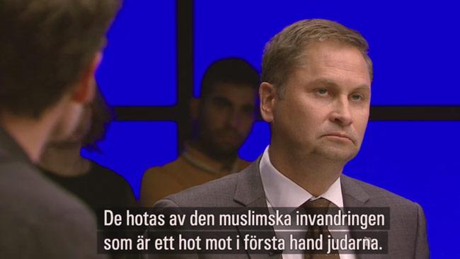 Arnstad gick full Arnstad i debatten. Foto: Faksimil svtplay.se