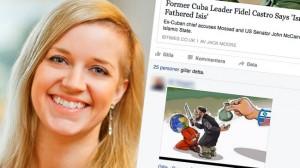 Jenny Bengtsson till vänster och en bild hon gillat på Facebook till höger. Foto: Pressbild Vänsterpartiet samt Faksimil Facebook
