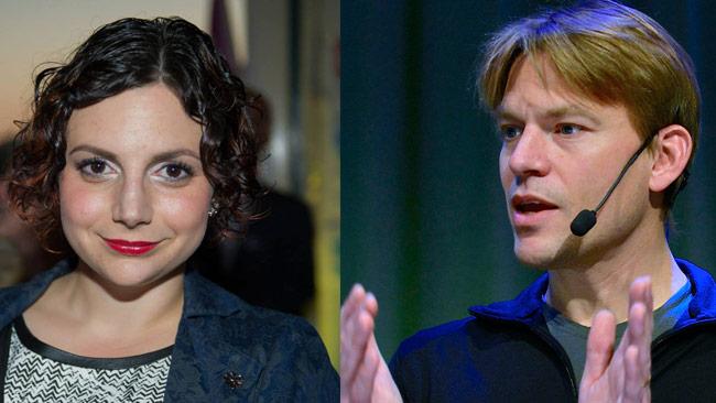 Paula Bieler (t.v) och PM Nilsson (t.h) har käkat lunch och diskuterat invandringspolitik. Foto: Sven Pernils samt Frankie Fouganthin