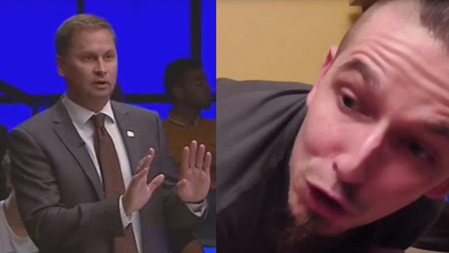 Till vänster Henrik Arnstad i SVT Debatt. Till höger EABT i sin video. Foto: Faksimil svtplay.se samt Youtube