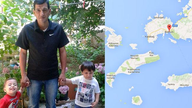 Till vänster Abdullah och hans pojkar. Till höger, röd markering, staden Bodrum i Turkiet.