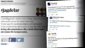 DN-kampanjen fylldes snabbt av invandringskritik. Bilden är ett montage. Foto: Faksimil jagdelar.dn.se samt Twitter