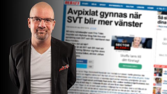 Johan Ingerö menar att alternativmedia växer på grund av att public service är vänstervridet.  Bilden är ett montage. Foto: Pressbild Timbro / Faksimil Expressen.se