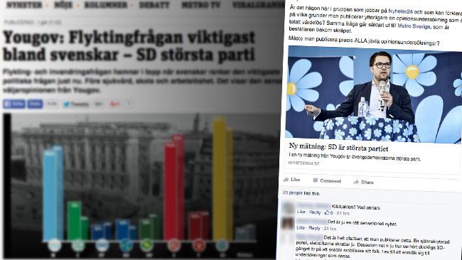I en journalistgrupp på Facebook ifrågasätts nu varför man publicerar Yougov-mätningen. Foto: Faksimil metro.se samt Facebook