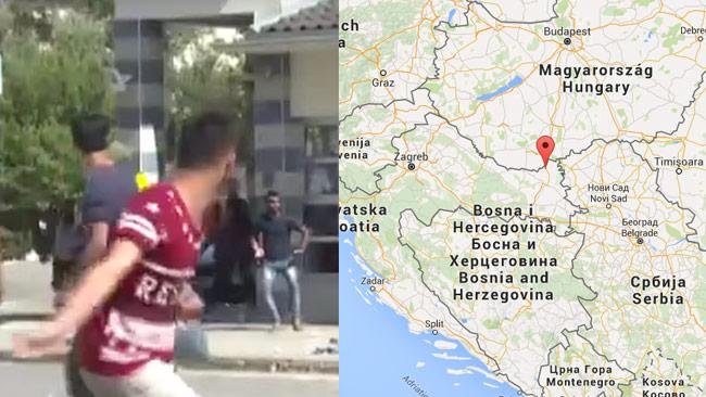 Här kastar en flykting sten i Kroatien. Foto: Faksimil Youtube / Ruptly.tv samt Google Maps