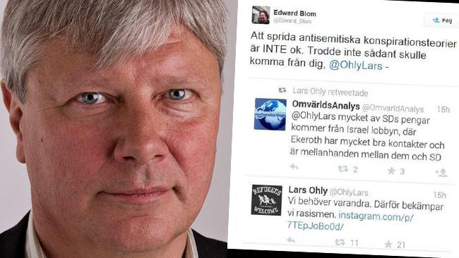 Lars Ohly möter kritik för en tweet han spred vidare. Bilden är ett montage. Foto: Gabriel Liljevall / Wikimedia Commons