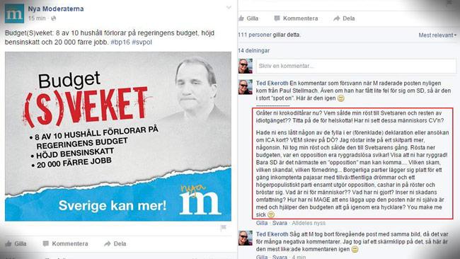 Ted Ekeroth (SD) undrar varför Moderaterna raderade kommentaren. Foto: Faksimil Facebook