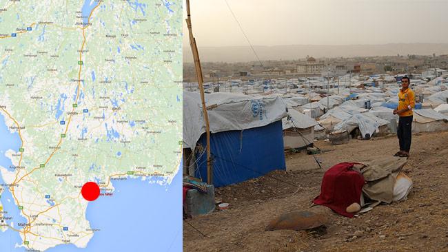 Johan Westerholm jämför det planerade flyktinglägret i Rinkaby (t.v) med Kawergosk i norra Irak (t.h). Foto: Google Maps / Nyheter Idag