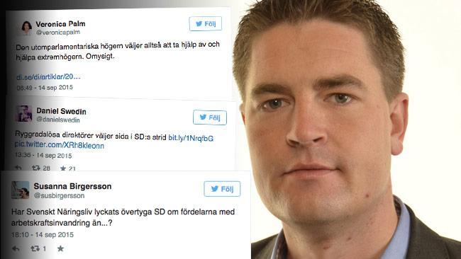 Nu rasar folk på Twitter över att lobbyisterna pratar med SD. Bilden är ett montage. Foto: riksdagen.se / Twitter