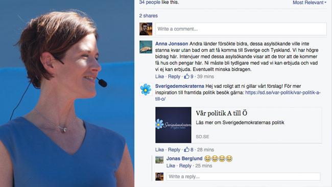 Här kuppar Sverigedemokraterna kommentarfältet på Moderaternas Facebooksida. Foto: Chang Frick / Faksimil Facebook