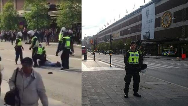 Till vänster bild ur video som sprids på Facebook. Till höger bild senare på platsen. Foto: Facebook / Roger Sahlström
