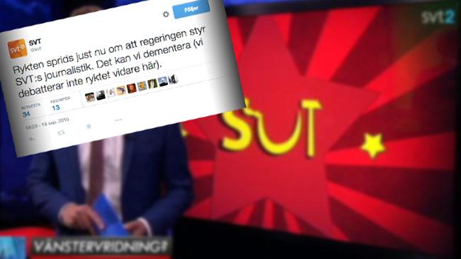 Det statligt kontrollerade SVT dementerar att de styrs av staten. Bilden är ett montage. Foto: SVT Aktuellt / Twitter