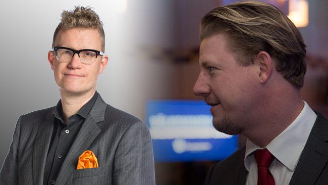 Skandalen består i att mannen till vänster erkänt att han druckit öl med mannen till höger. Foto: Pressbild KREAB samt Chang Frick / Nyheter Idag