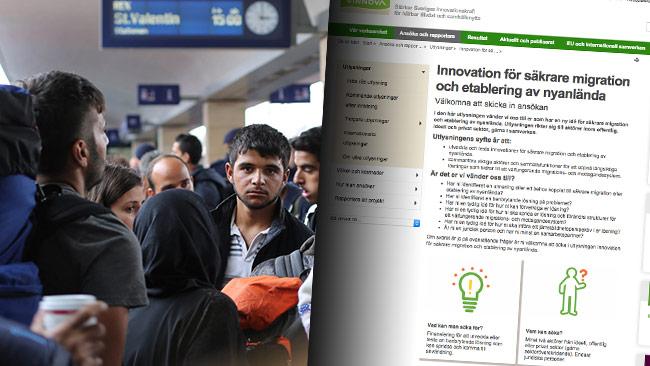 Nu tar staten uppfinnare till hjälp för att lösa problem relaterat till migration. Till vänster syriska flyktingar. Foto: CC  Flickr / Josh Zakary samt Faksimil vinnova.se