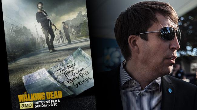 """Jomshof firar att dö har fallit med att titta på """"Walking dead"""". Foto: Imdb samt Chang Frick / Nyheter Idag"""