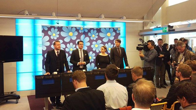 Sverigedemokraterna håller presskonferens på torsdagen. Foto: Privat