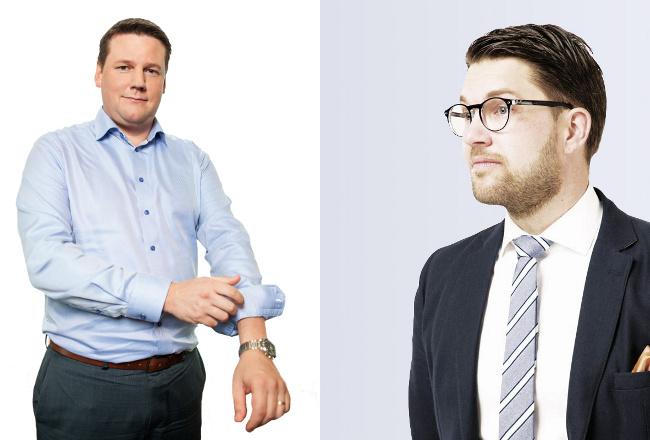 Kavlar upp ärmarna. LO:s förste vice ordförande Tobias Baudin och SD:s partiledare Jimmie Åkesson. Foto: Pressbilder