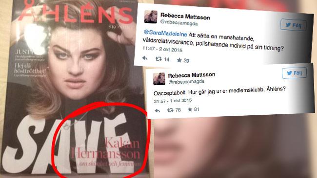 """Att använda Karin """"Kakan"""" Hermansson på omslaget väcker reaktioner. """"En förebild"""", säger Åhlens. Bilden är ett montage. Foto: Faksimil Twitter"""