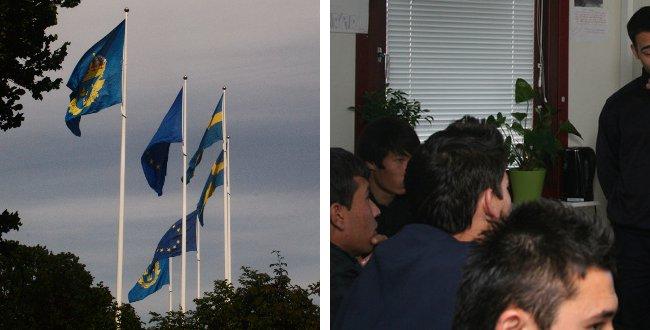 Flaggspel utanför polishuset i Stockholm och ensamkommande flyktingbarn som får lära sig om arbetet som brandman. Montage: Nyheter Idag. Foto: Nyheter Idag/Räddningstjänsten Syd