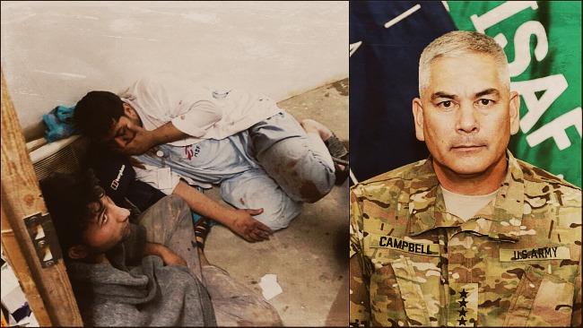 Bild tagen efter attacken. Höger: General John Cambell Foto: Läkare utan gränser & Us Army public domain
