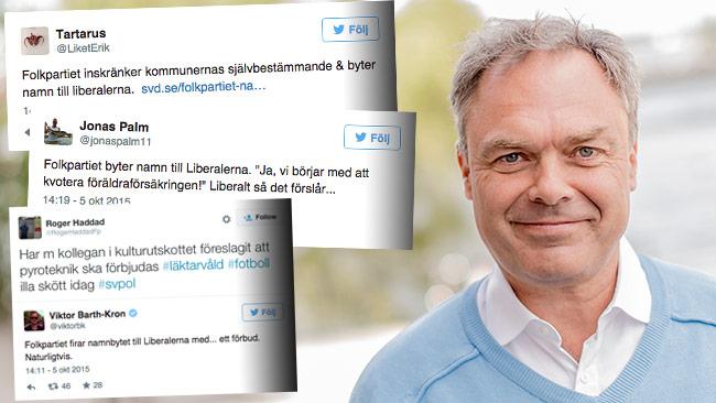 Nu hånas Folkpartiet för namnbytet. I bild ser vi partiledaren Jan Björklund. Foto: Pressbild folkpartiet.se samt Faksimil Twitter