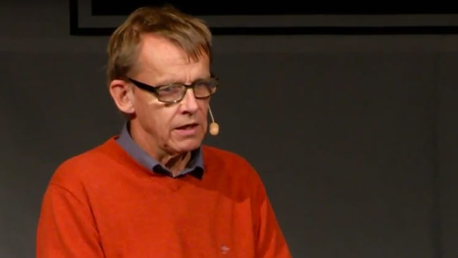 Hans Rosling hos Publicistklubben. Foto: Faksimil Youtube