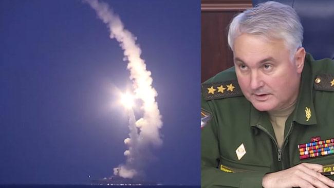 Generalöverste Andrej Kartapolov berättade om kryssningsmissilerna mot ISIS. Foto: Faksimil Youtube